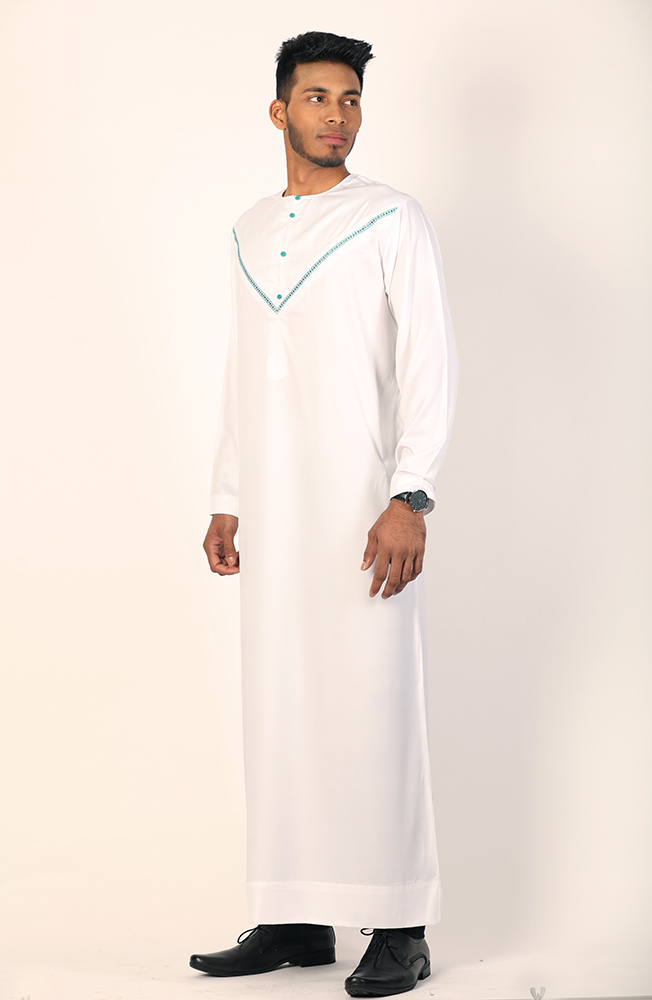 Omani Thobe Jersey Sleeve White and Green