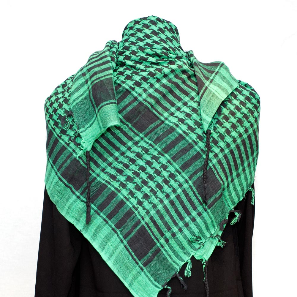 Palestinian Keffiyeh black on green