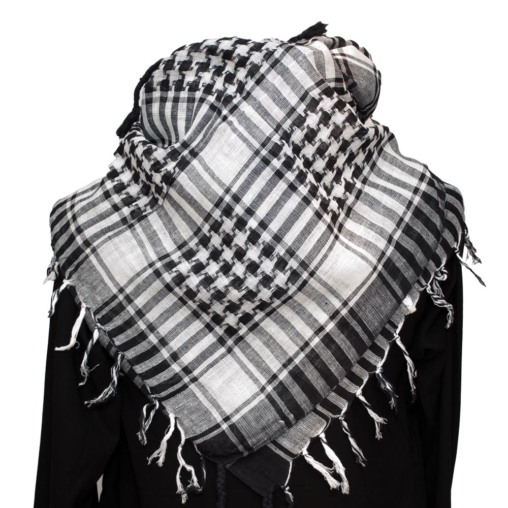 Palestinian Keffiyeh white on black