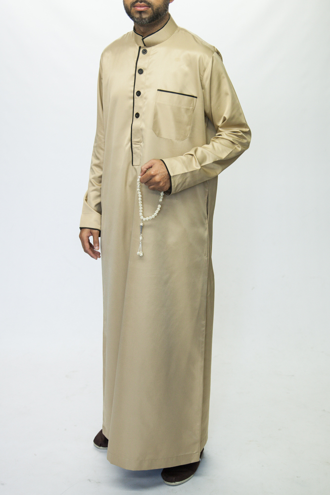 Beige Islamic Mens Pipping Jubba