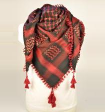 Black And Maroon Palestinian Arab Scarf keffiyeh