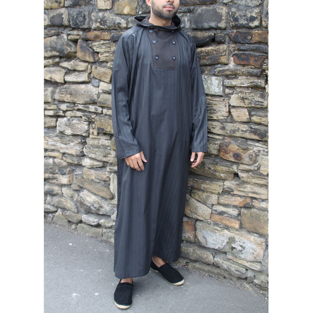 Black Button Hooded Jubbah
