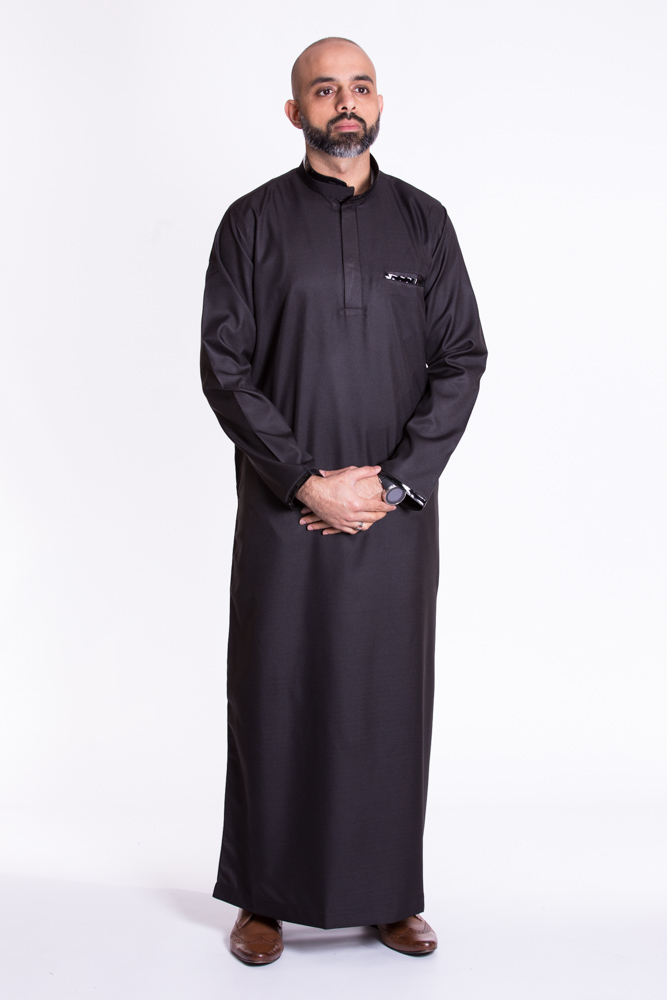 Black Muslim New Pipping  Jubba Thobe