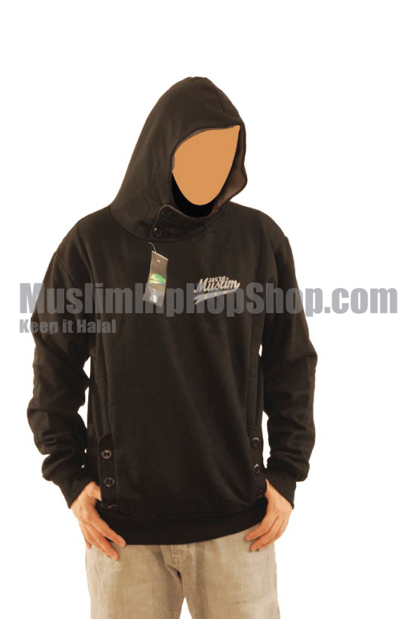 Black Color Muslim Button Hoody