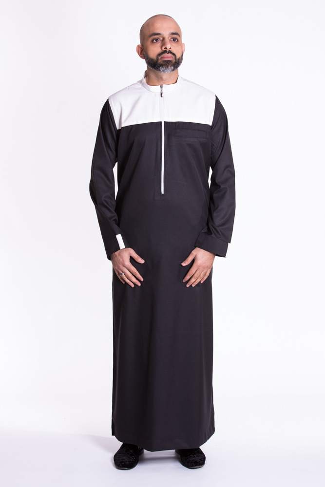 Black Zipper Muslim Jubba