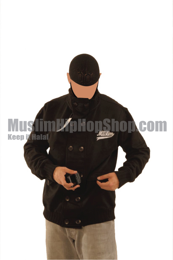 Black Fashion Button Muslim Jacket