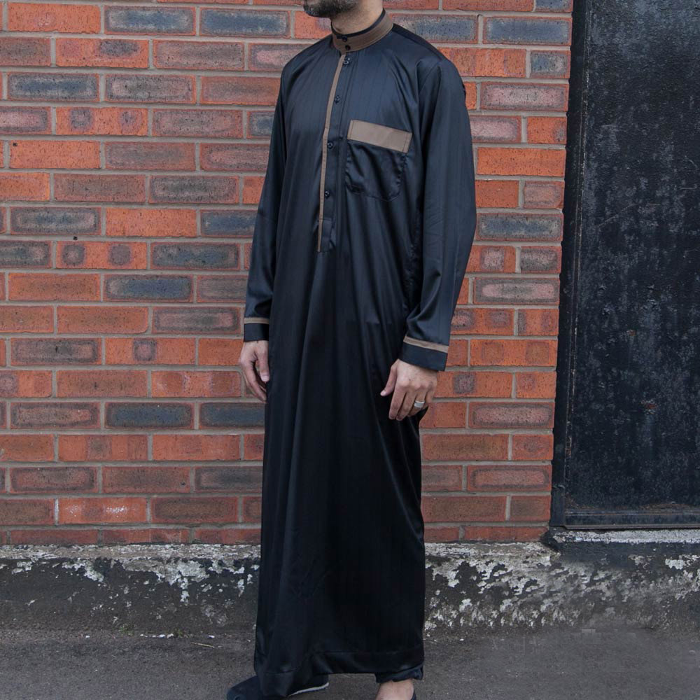 Black Gold Collar Jubba Thobe