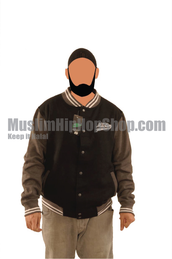 Black Grey Muslim Baseball Jacket