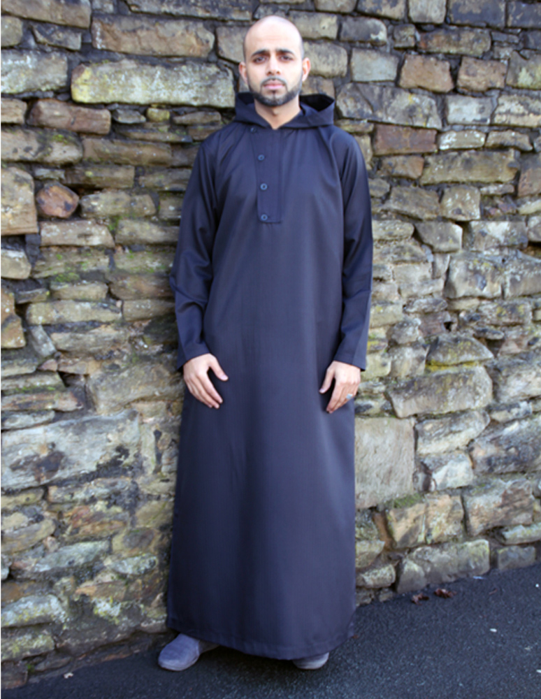 Black Hooded 4 Button Jubba