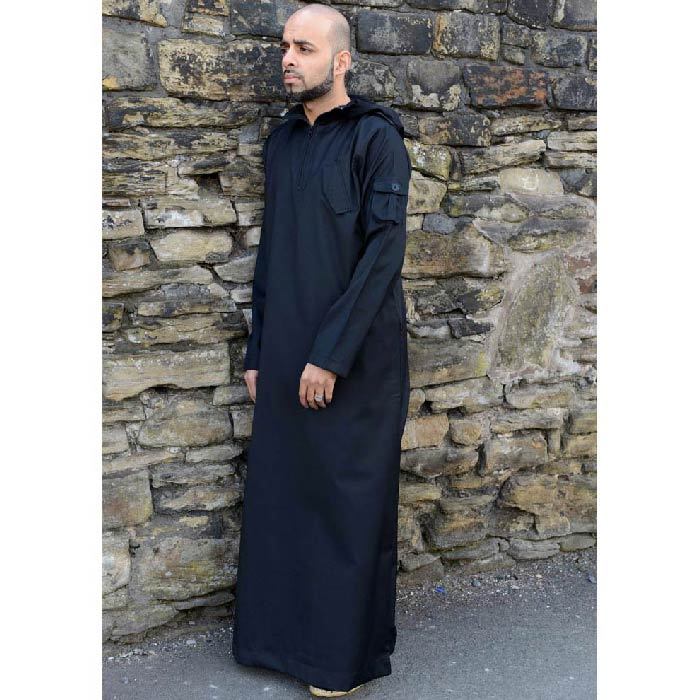 Black Hooded Army Jubba Thobe