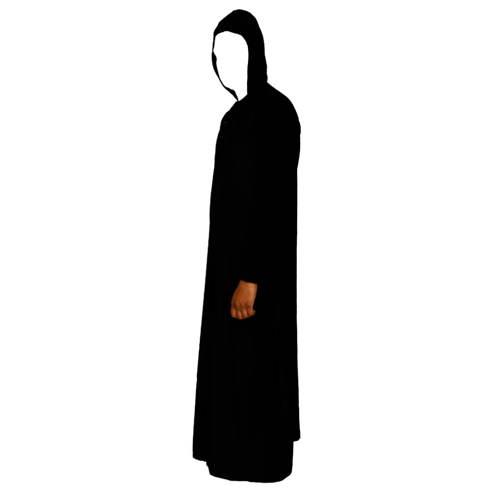 Black Hooded V-Neck Jubba Thobe