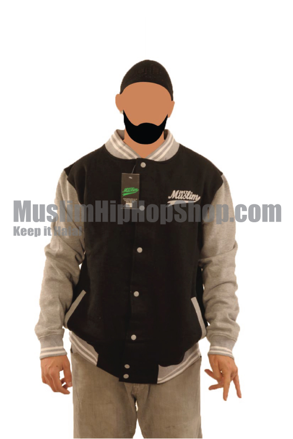 Black Light Grey Muslim Baseball Jacket
