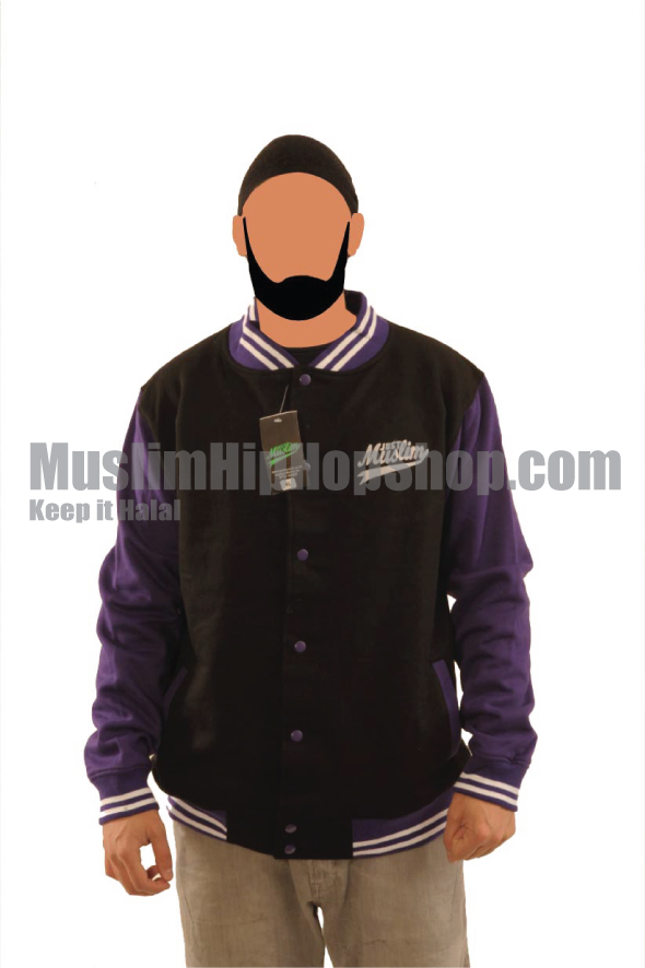Black Purple Muslim Baseball Jacket