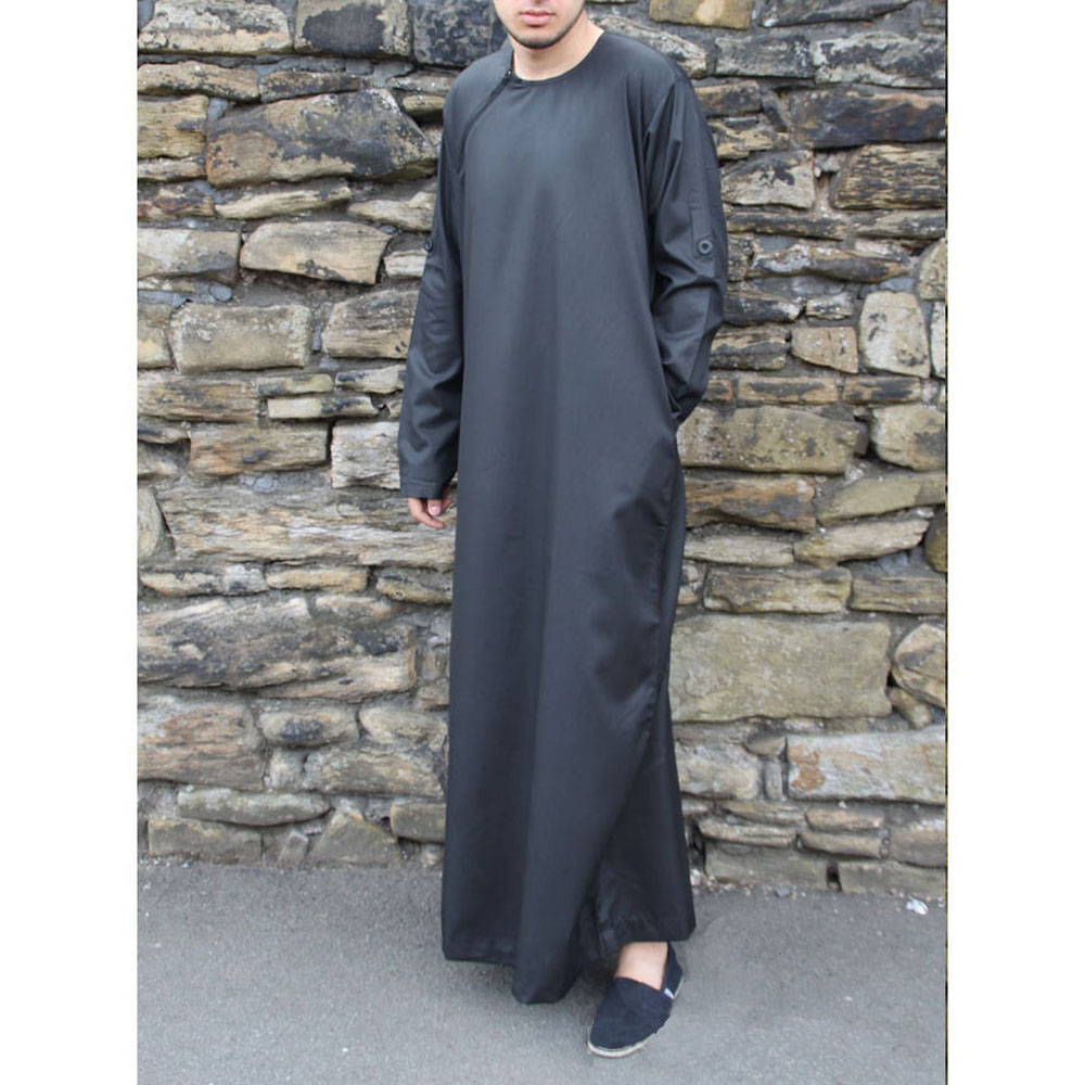 Black Roll Down Islamic Jubba