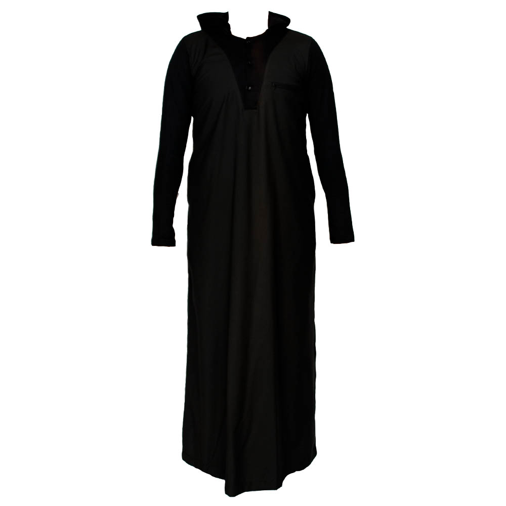 Black V Neck Hooded Jubbah