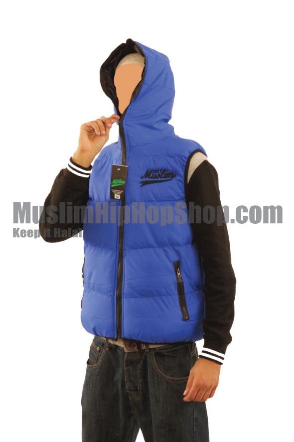 Blue Color Muslim Hooded Body Warmer