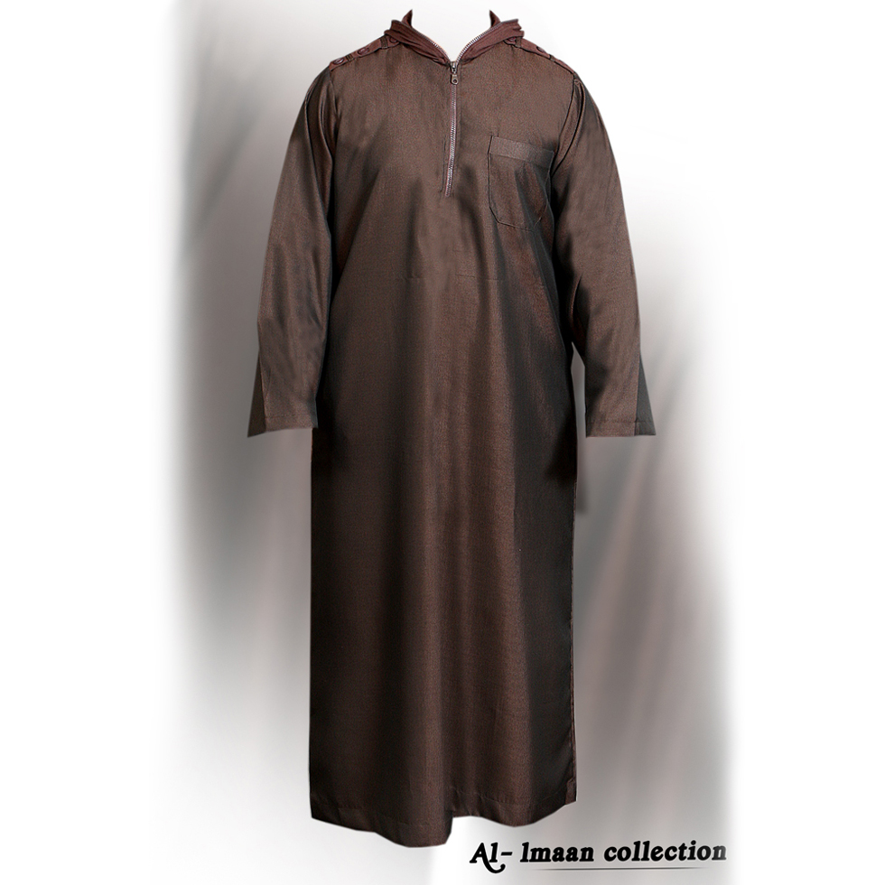 Brown Full Zipper Jubba Thobe