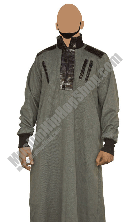 Brown half leather jubba thobe