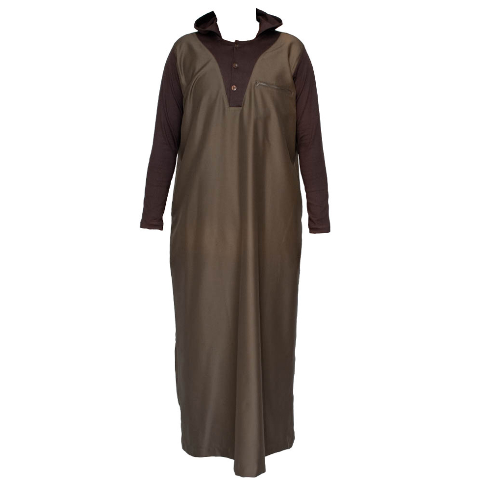 Brown Hooded V-Neck Jubba Thobe