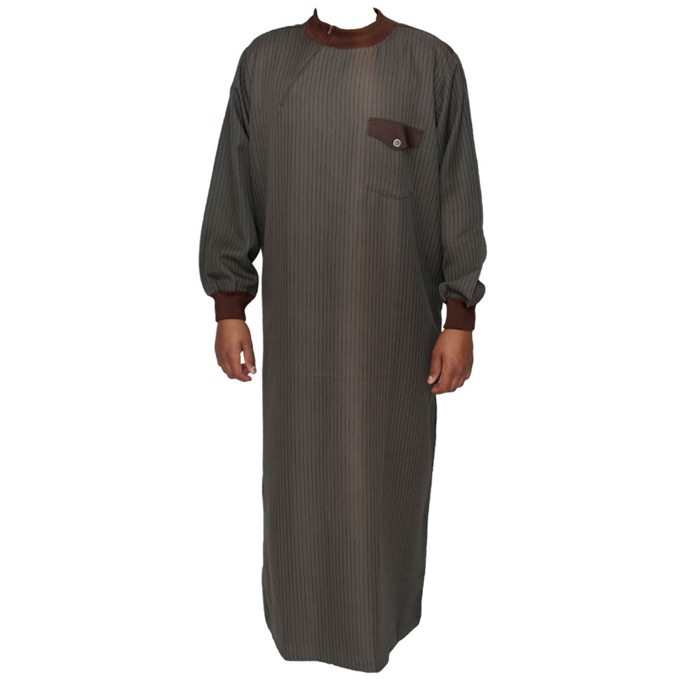 Brown Jumper Cuff Neck Jubbah Thobe