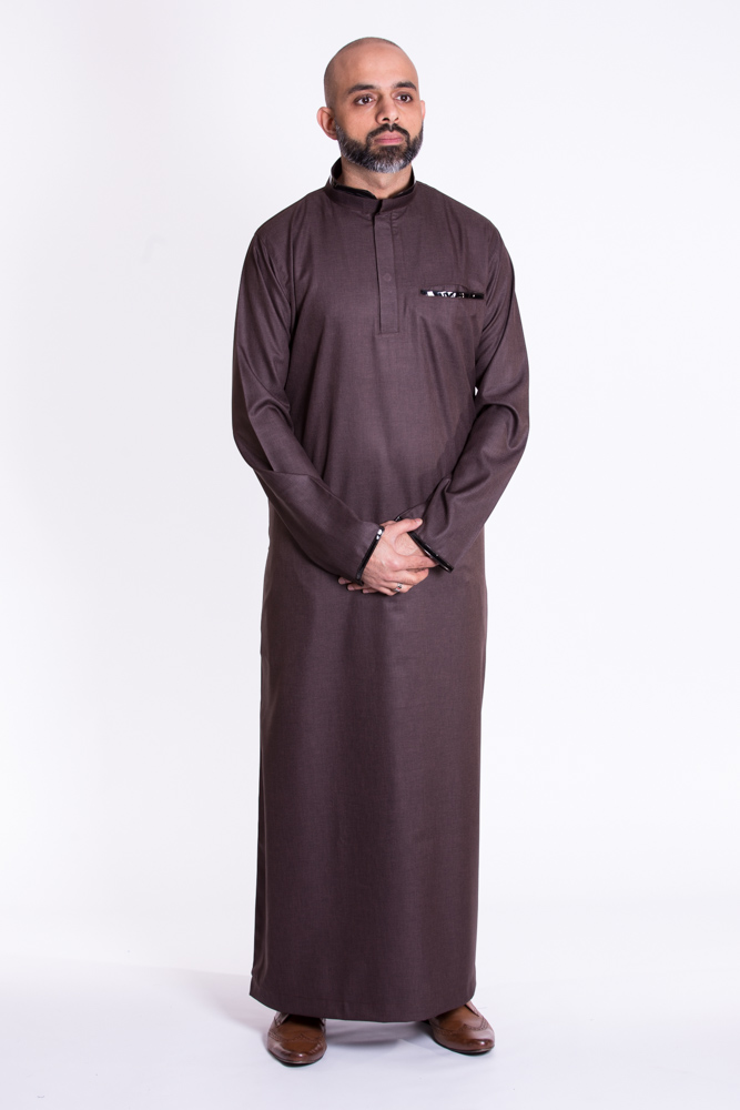 Brown Muslim New Pipping  Jubba Thobe