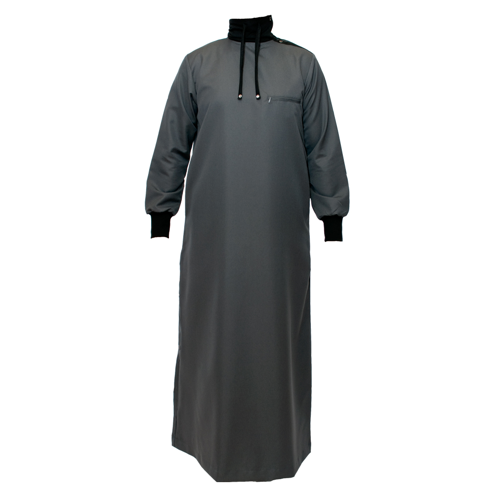 Charcoal Grey Polo Neck Jubba Thobe