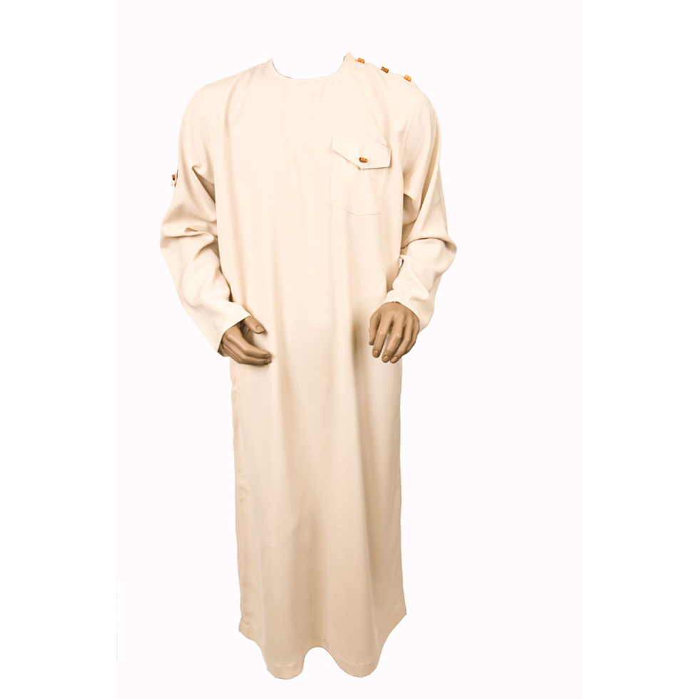 Cream Color Wooden Button Jubbah Thobe