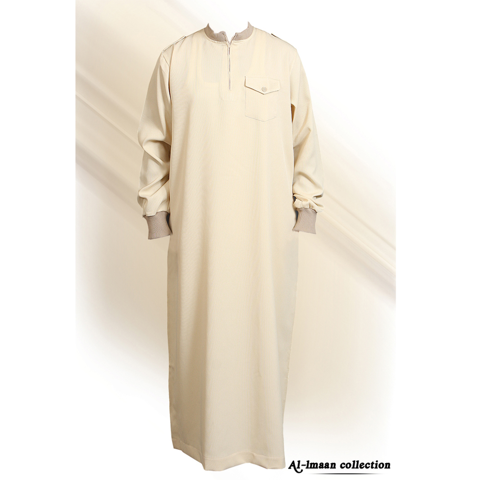 Cream Jumper Coller Jubba Thobe