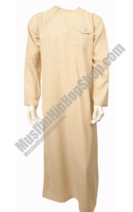 Cream Side Zip Jubbah Thobe