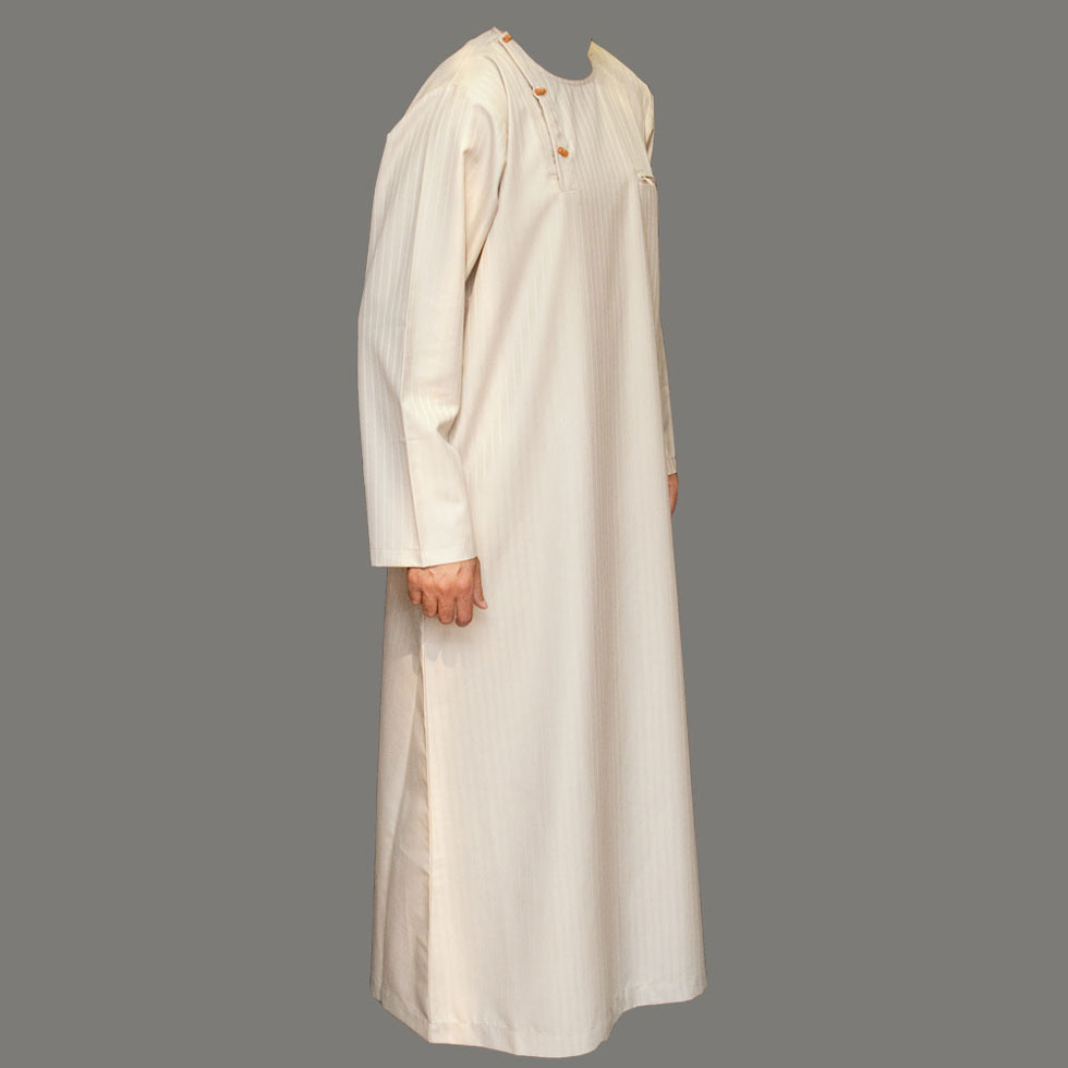 Cream Wooden Button Jubba Thobe