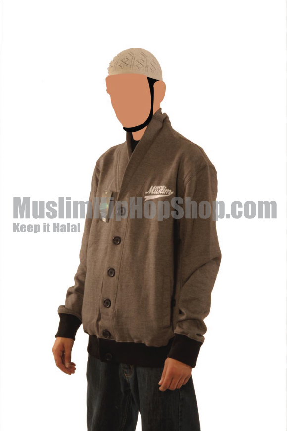 Dark Grey Color Muslim Cardigen