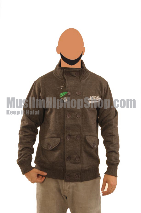 Dark Grey Fashion Pocket Muslim Jacket