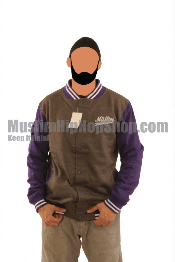Dark Grey Purple Muslim Baseball Jacket