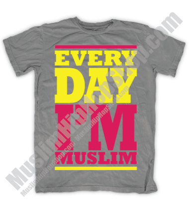 Every Day Im Muslim Pink Grey Tshirt