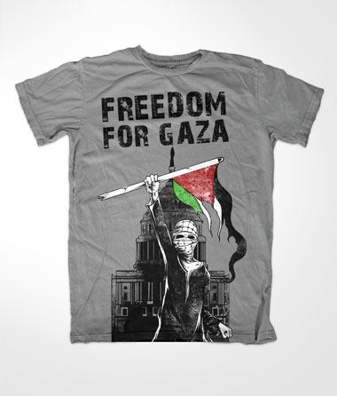 Freedom For Gaza Islamic Grey T-shirt