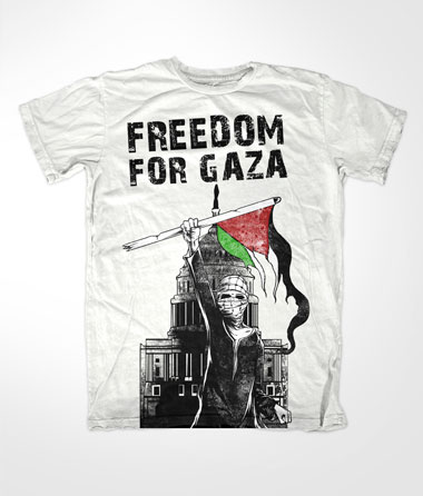 Freedom For Gaza White Islamic T-shirt