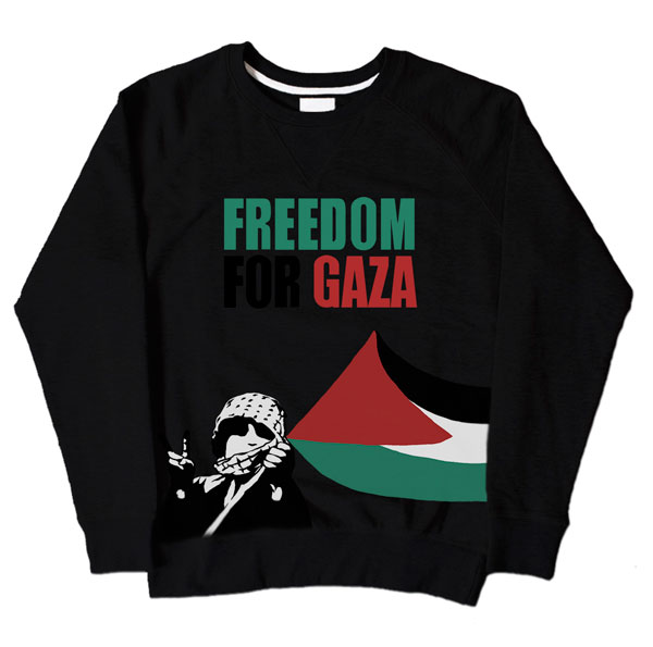 Freedom For Gaza Kid Black Sweatshirt