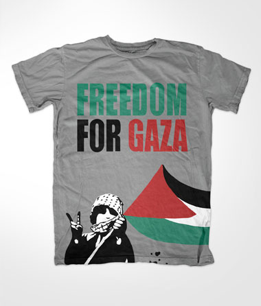 Freedom For Gaza Kid Grey Muslim T Shirt
