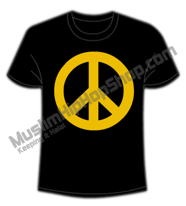 Golden Peace sign islamic t shirts