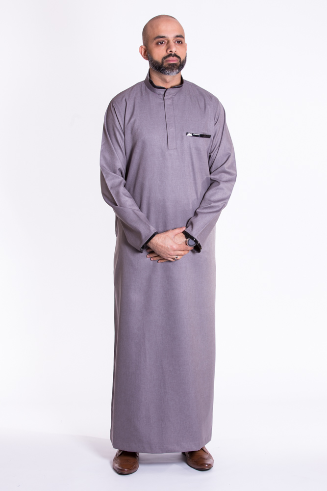 Gray Muslim New Pipping  Jubba Thobe