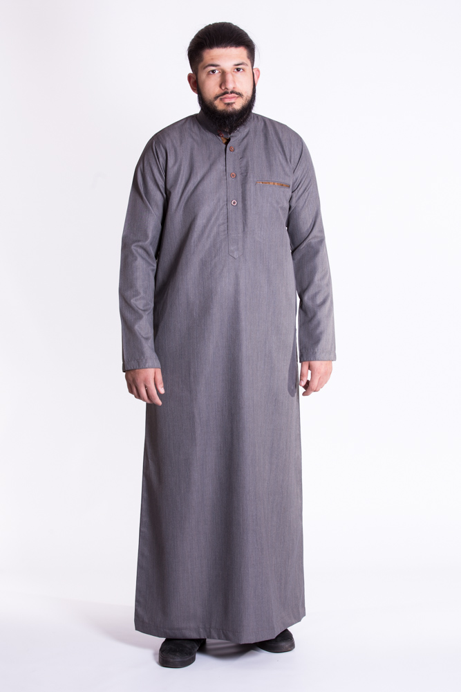Gray Mens Muslim Jubba