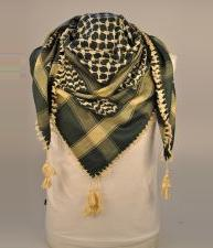 Green And Cream Palestinian Arab Scarf Keffiyeh