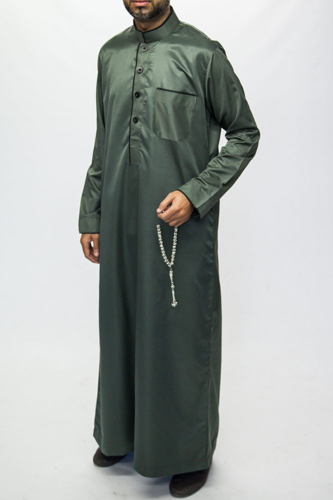 Green Islamic Mens Pipping Jubba