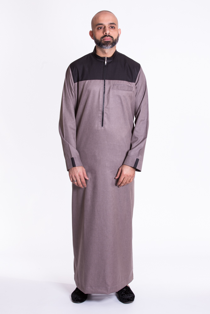 Gray Zipper Muslim Jubba