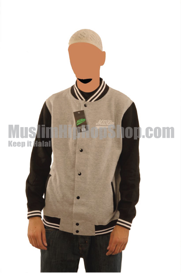 Grey Black Islamic Baseball Jacket