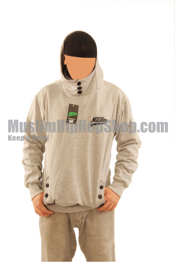Grey Color Muslim Button Hoody