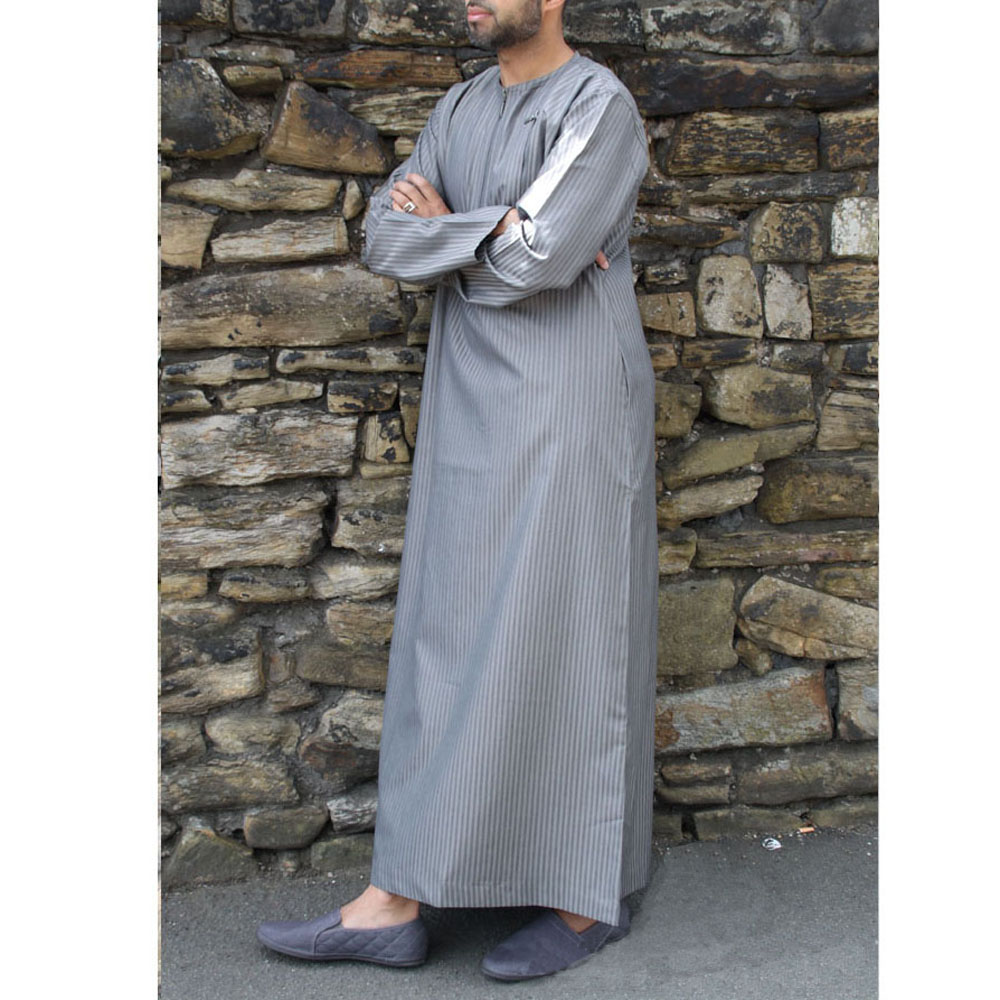Grey Double Zipper Muslim Jubba