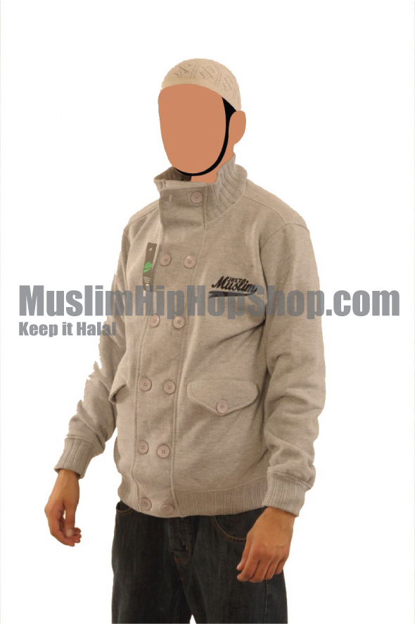 Light Grey Fashion Pocket Muslim Jacket
