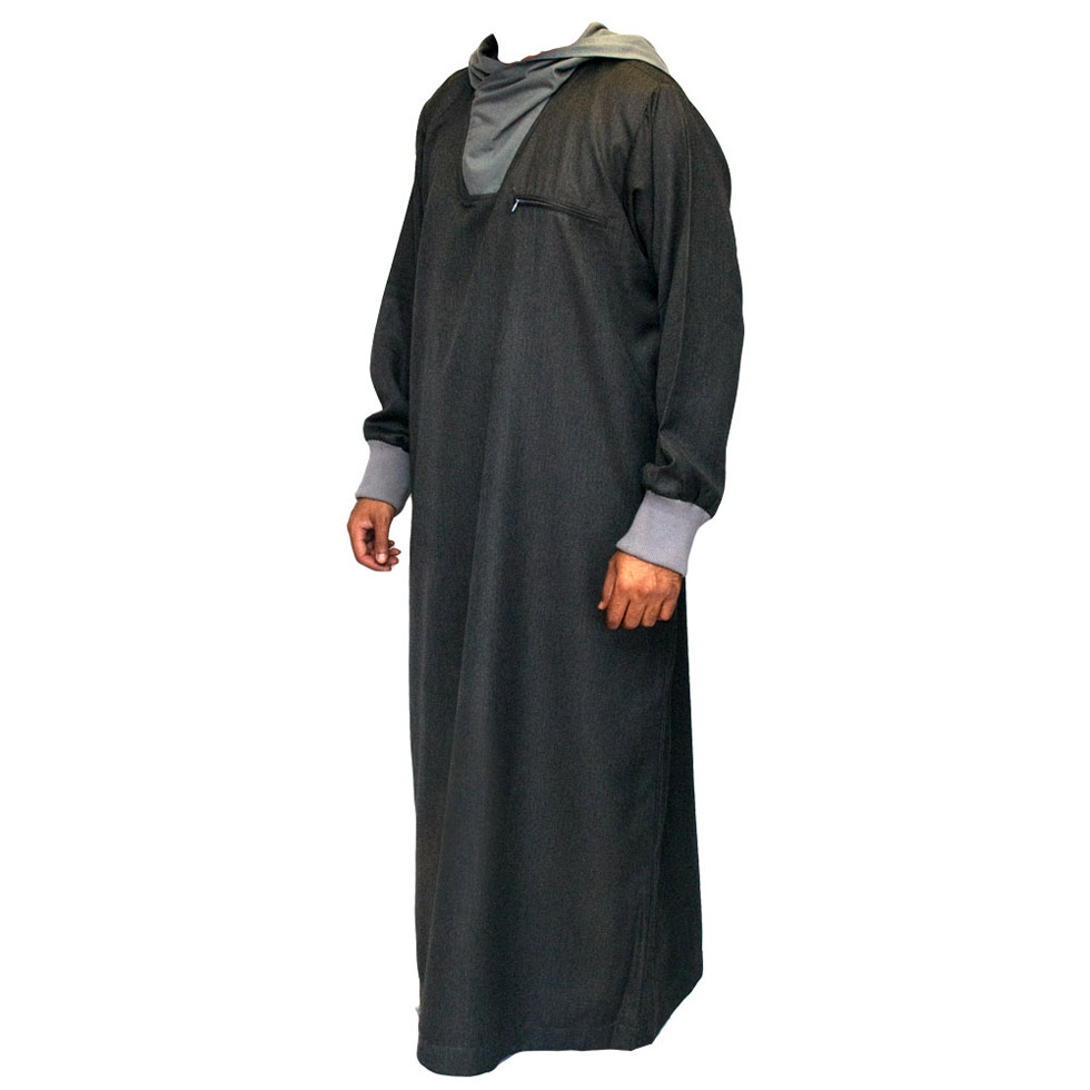 Grey Hooded Stylish Jubbah Thobe