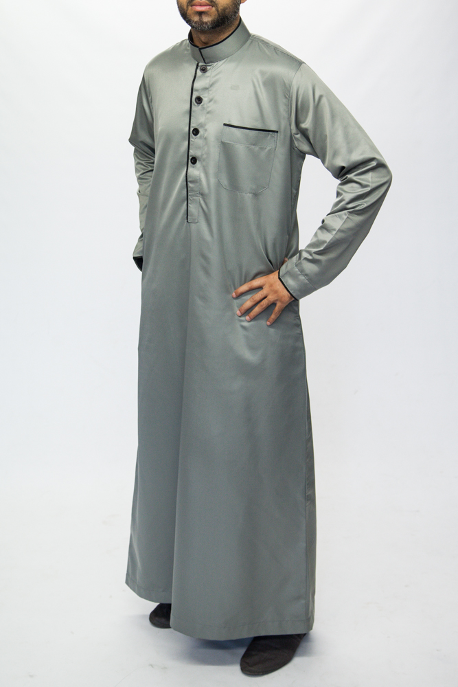 Grey Islamic Mens Pipping Jubba